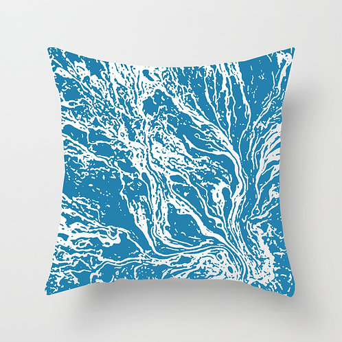 Marble Throw Pillow (matte blue)