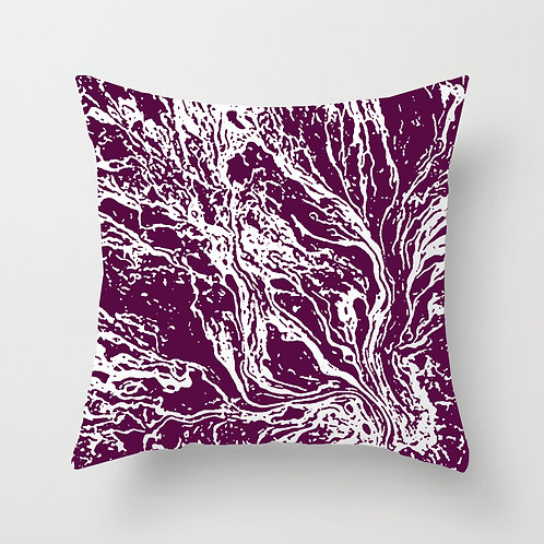 Marble Throw Pillow (deep magenta)