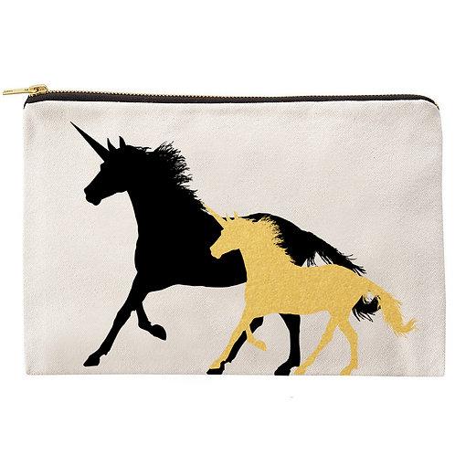 Black & Gold Unicorns Zipper Pouch