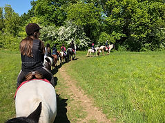 promenade à cheval et à poneys dans la nature loisirs pendant le weekend et vacances