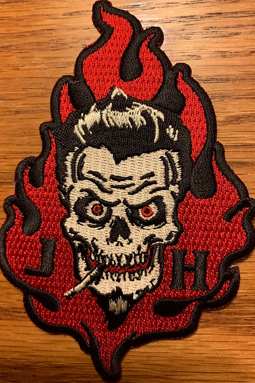 skull flames patch