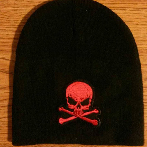 Black Beanie w/Red Skull