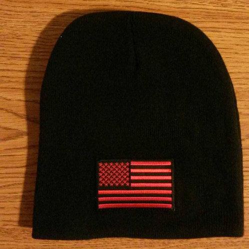 Black Beanie w/Red American Flag
