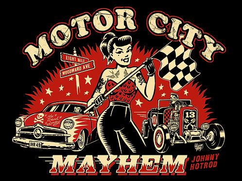 motor city mayhem short sleeve tee shirt