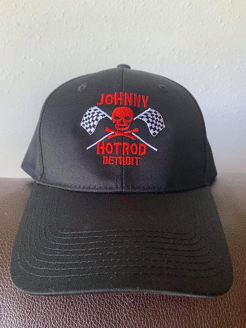 skull and racing flags  baseball cap