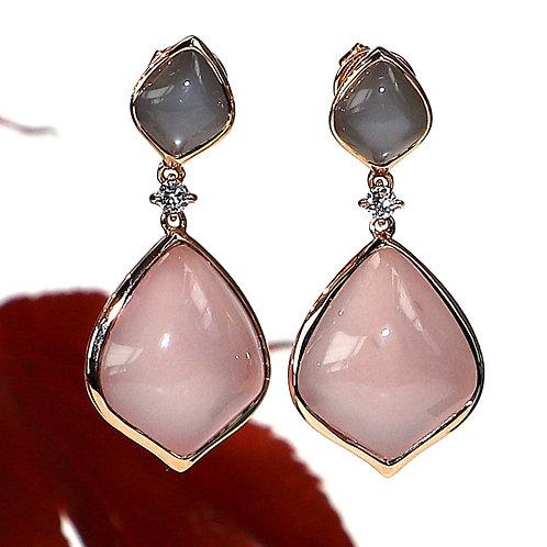 Boucles d'oreilles - Pierres de lune - Quartz rose - Brillants