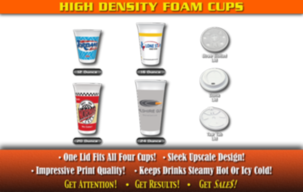 High Density Foam Custom Printed Cups. One lid fits all four cups! Sleek upscale design! Impressive print Quality! Keeps drinks steamy hot or icy cold!