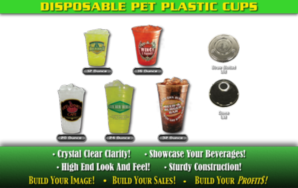 Disposable PET Plastic Custom Printed Cups. Crystal clear clarity! Showcase your beverages! High end look and feel! Sturdy construction!