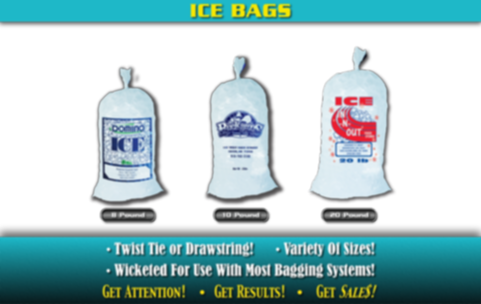 Custom Printed Ice Bags. Twist tie or drawstring! Variety of sizes! Wicketed for use with most bagging systems!