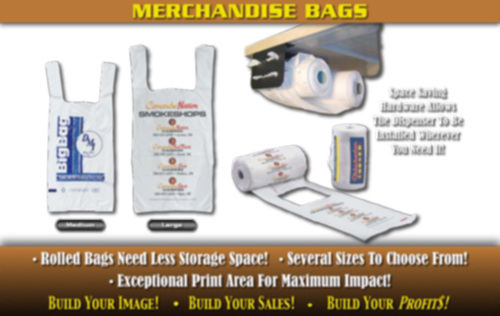 Custom Printed Mechandise Bags. Rolled bags needs less storage space! Several sizes to choose from! Exceptional print area for maximum impact!
