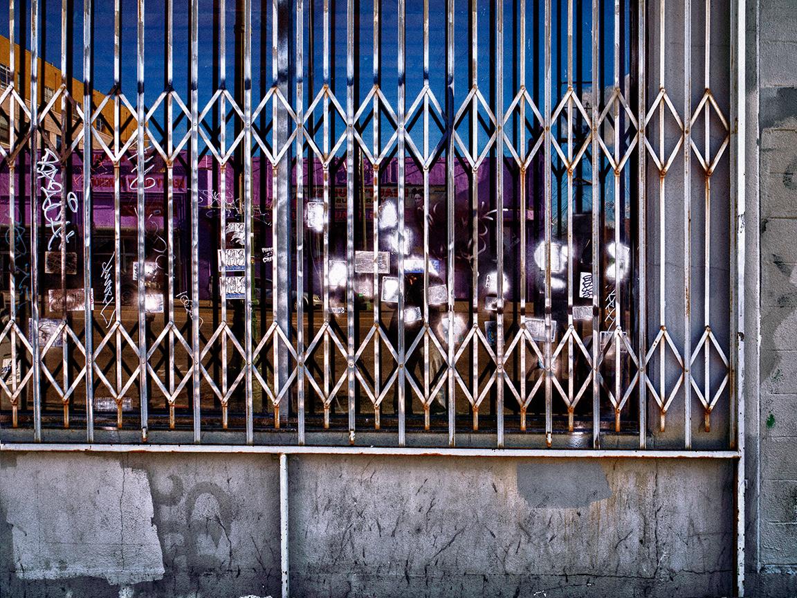 Gated Window Blue White Pink