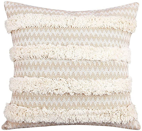 Khaki Tufted Woven Pillow Cover