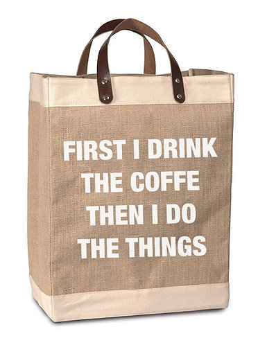 Coffee Then Things Burlap Market Bag