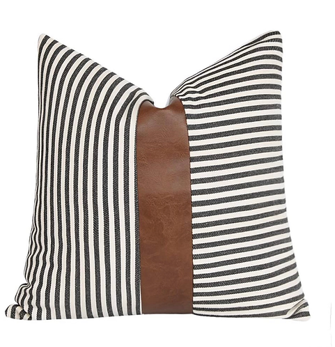 Ticking Striped Faux Leather Pillow Cover