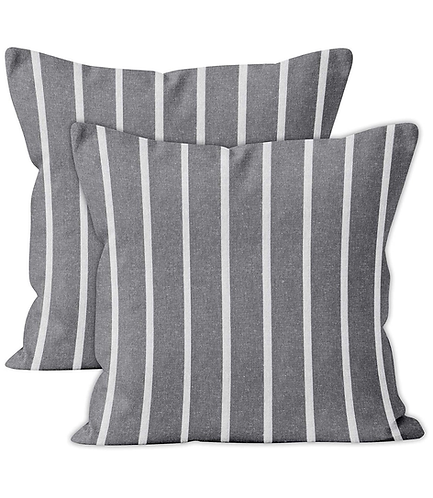 Roma Gray Striped Pillow Cover, Set of 2
