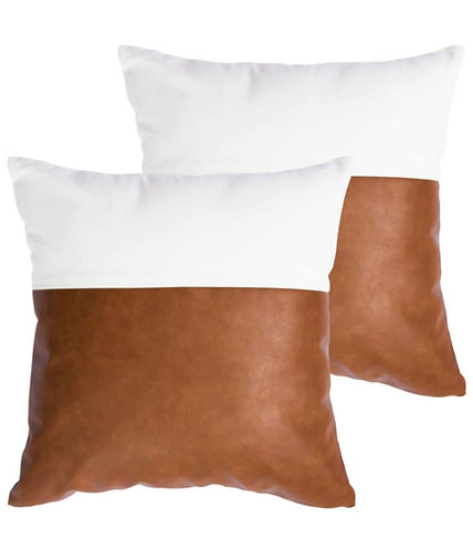 White & Cognac Leather Pillow Cover (Set of 2)