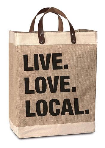 Live Love Local Burlap Market Bag