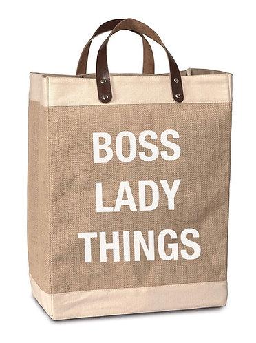 """""""Boss Lady"""" Burlap Market Bag"""