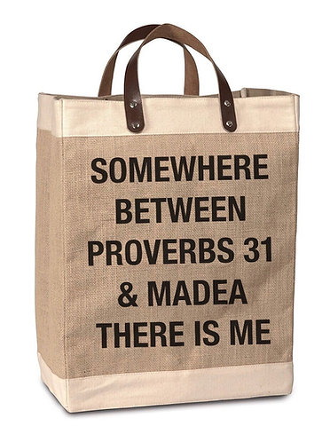 Proverbs/Madea Burlap Market Bag