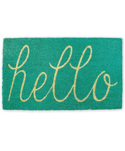 Hello Door Mat, Turquoise
