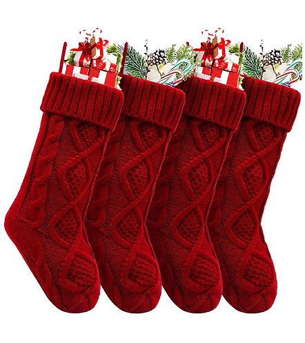 Red Knitted Christmas Stocking Set