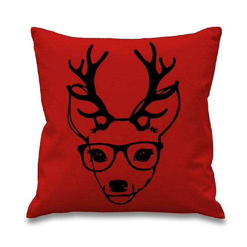 Reindeer w/ Glasses Pillow Cover
