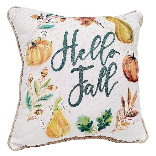 Hello Fall Wreath Pillow, Multicolor