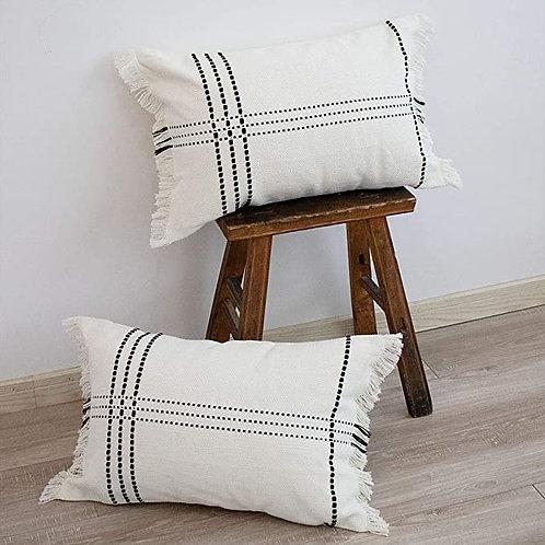 White/Black Farmhouse Fringe Pillow Cover (Set of 2)