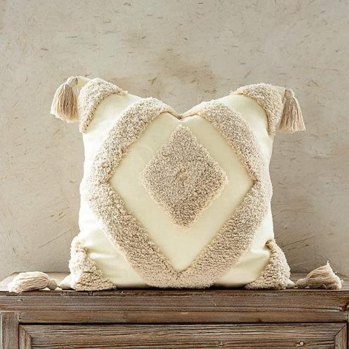 Cream Woven Tufted Tassel Pillow Cover