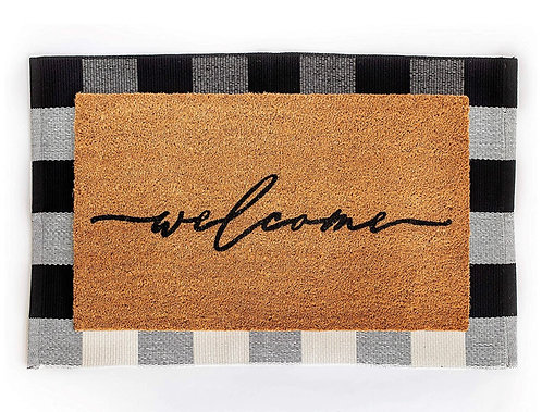 Layered Welcome/Buffalo Check Door Mat Set