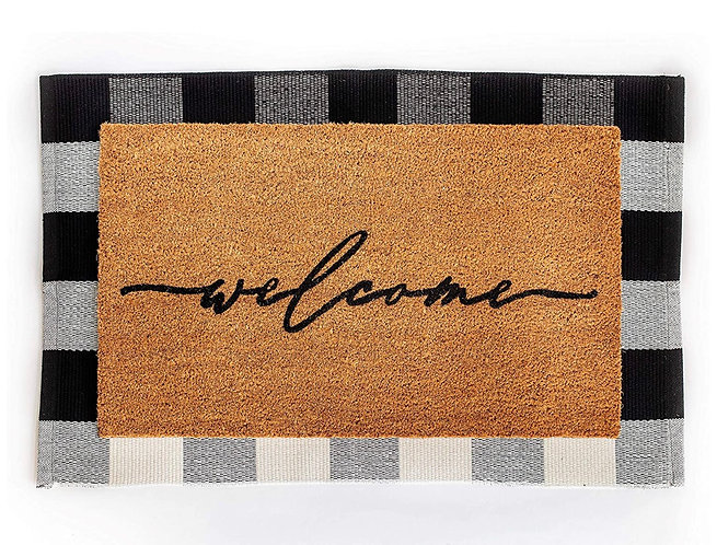 Layered Welcome/Buffalo Check Door Mat Set