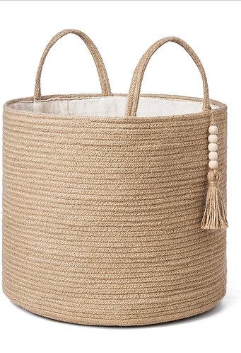 Natural Woven Storage Basket w/ Bead Tassels