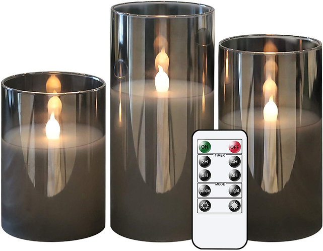 Smoked Glass LED Candles