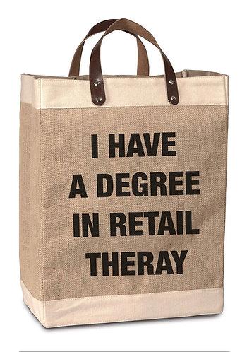 Retail Therapy Degree Burlap Market Bag