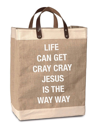 Jesus Is the Way Burlap Market Bag