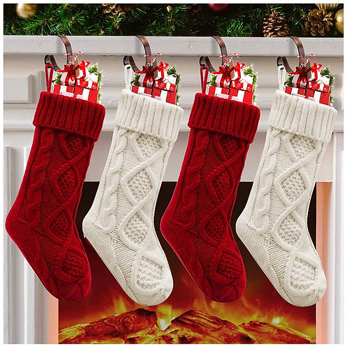 Red & White Knitted Stocking Set