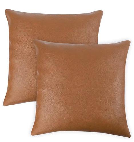 Faux Leather Cognac Pillow Cover (Set of 2)