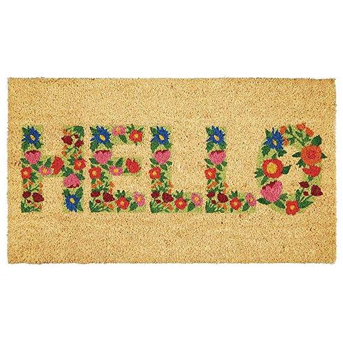 """Floral """"Hello"""" Doormat"""