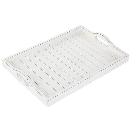 White Torched Wooden Serving Tray