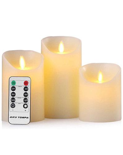Flameless Candle Pillars, 3 Pc Set
