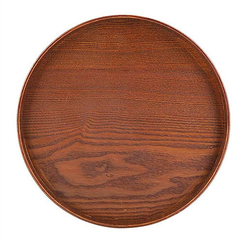 Round Wooden Coffee Table Tray
