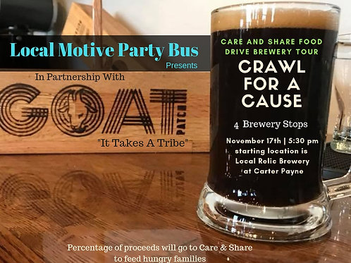Crawl For A Cause Brewery Tour - Care and Share Food Drive - Nov. 24th