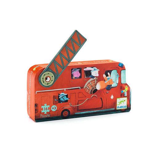Le camion de pompier - 16 pcs- Puzzles silhouettes DJECO