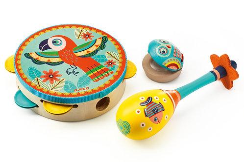 Animambo - Set de 3 instruments Tambourin-Maracas-Castagnette DJECO