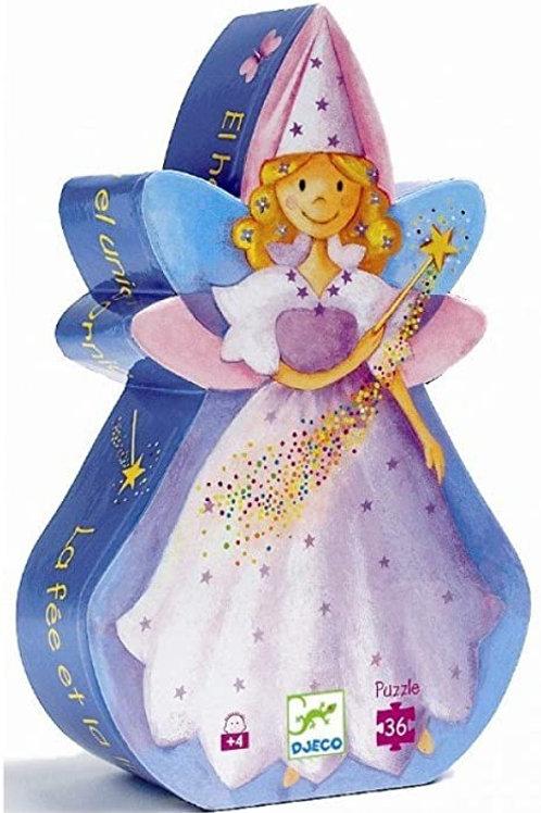 La fée et la licorne - 36 pcs  - Puzzles silhouettes DJECO