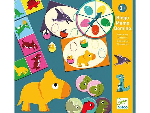 Bingo Memo Domino - Dinosaures - Jeux éducatifs DJECO