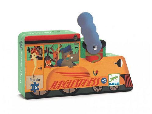 La locomotive - 16 pcs - Puzzles silhouettes DJECO
