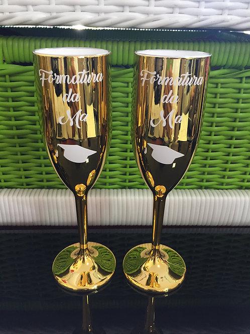 2 taças de espumante douradas