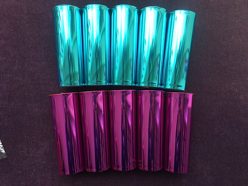 5 copos metalizados pink + 5 copos metalizados azul bebê personalizados