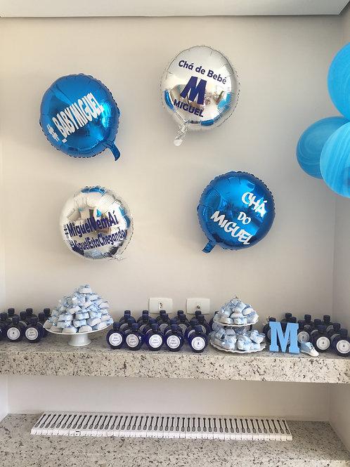 """4 balões 18"""" metalizados redondos Personalizados"""